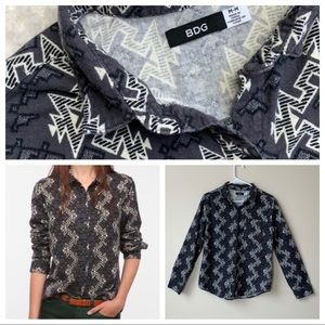 Urban Outfitters BDG Aztec Ikat Button Front Gray